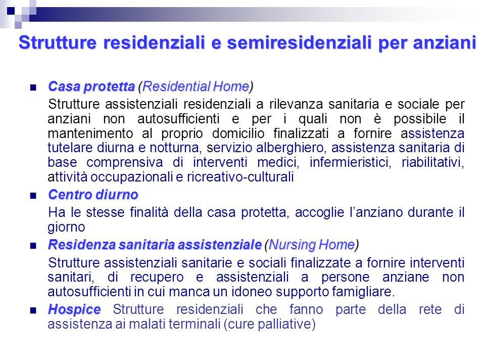 Strutture residenziali e semiresidenziali per anziani Casa protetta(Residential Home) Casa protetta (Residential Home) Strutture assistenziali residen