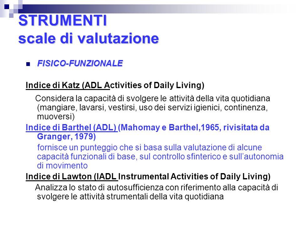 STRUMENTI scale di valutazione FISICO-FUNZIONALE FISICO-FUNZIONALE Indice di Katz (ADL Activities of Daily Living) Considera la capacità di svolgere l