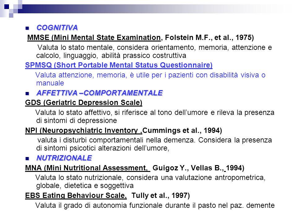 COGNITIVA COGNITIVA MMSE (Mini Mental State Examination, Folstein M.F., et al., 1975) Valuta lo stato mentale, considera orientamento, memoria, attenz