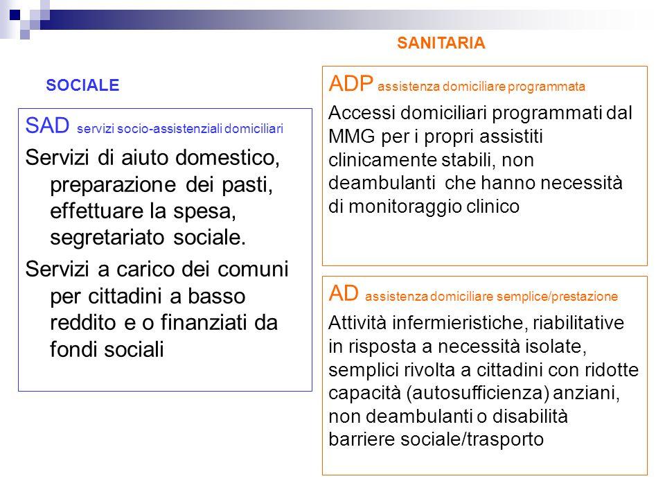 SAD servizi socio-assistenziali domiciliari Servizi di aiuto domestico, preparazione dei pasti, effettuare la spesa, segretariato sociale. Servizi a c