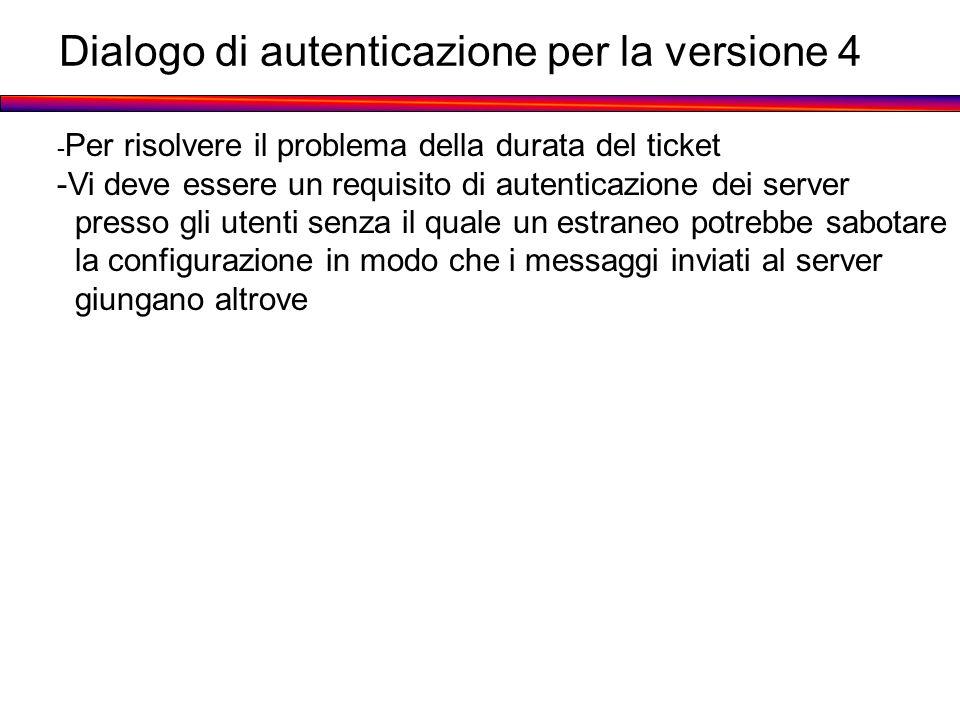 Dialogo di autenticazione per la versione 4 - Per risolvere il problema della durata del ticket -Vi deve essere un requisito di autenticazione dei ser