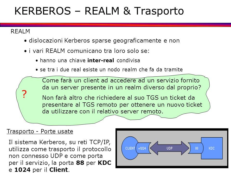 KERBEROS – REALM & Trasporto REALM dislocazioni Kerberos sparse geograficamente e non i vari REALM comunicano tra loro solo se: hanno una chiave inter