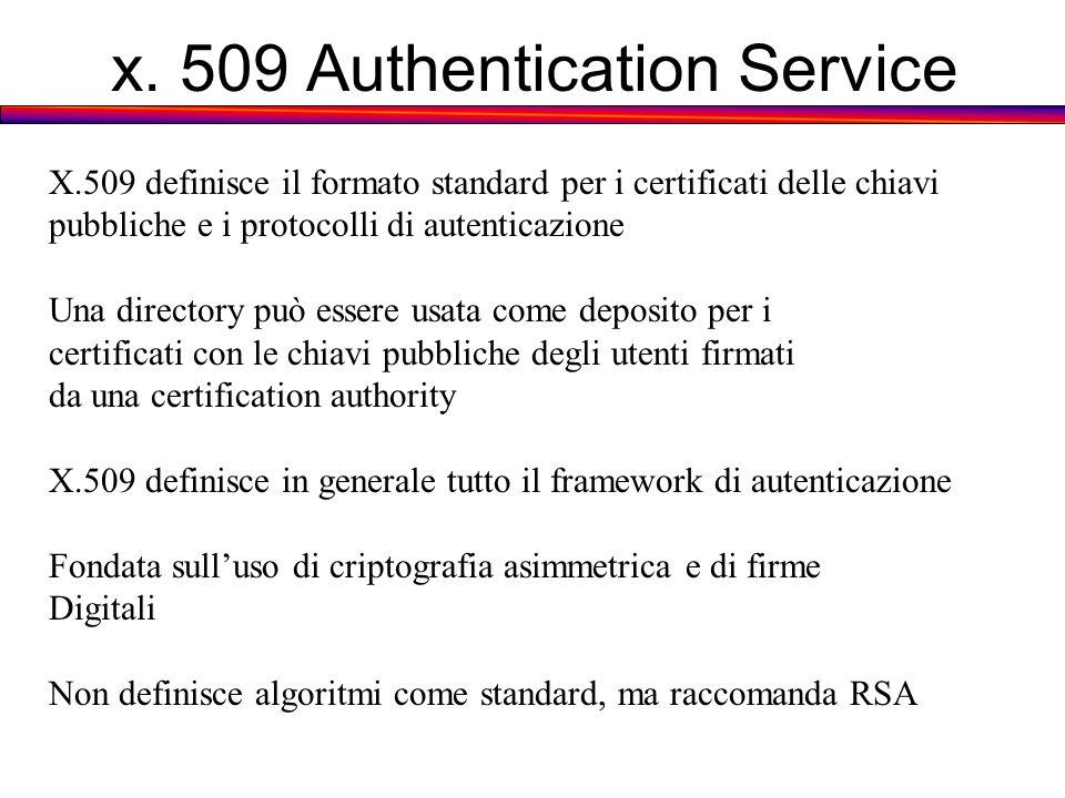 x. 509 Authentication Service X.509 definisce il formato standard per i certificati delle chiavi pubbliche e i protocolli di autenticazione Una direct