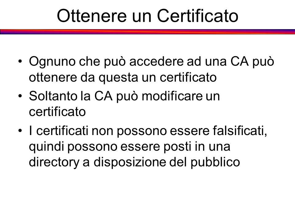Ottenere un Certificato Ognuno che può accedere ad una CA può ottenere da questa un certificato Soltanto la CA può modificare un certificato I certifi