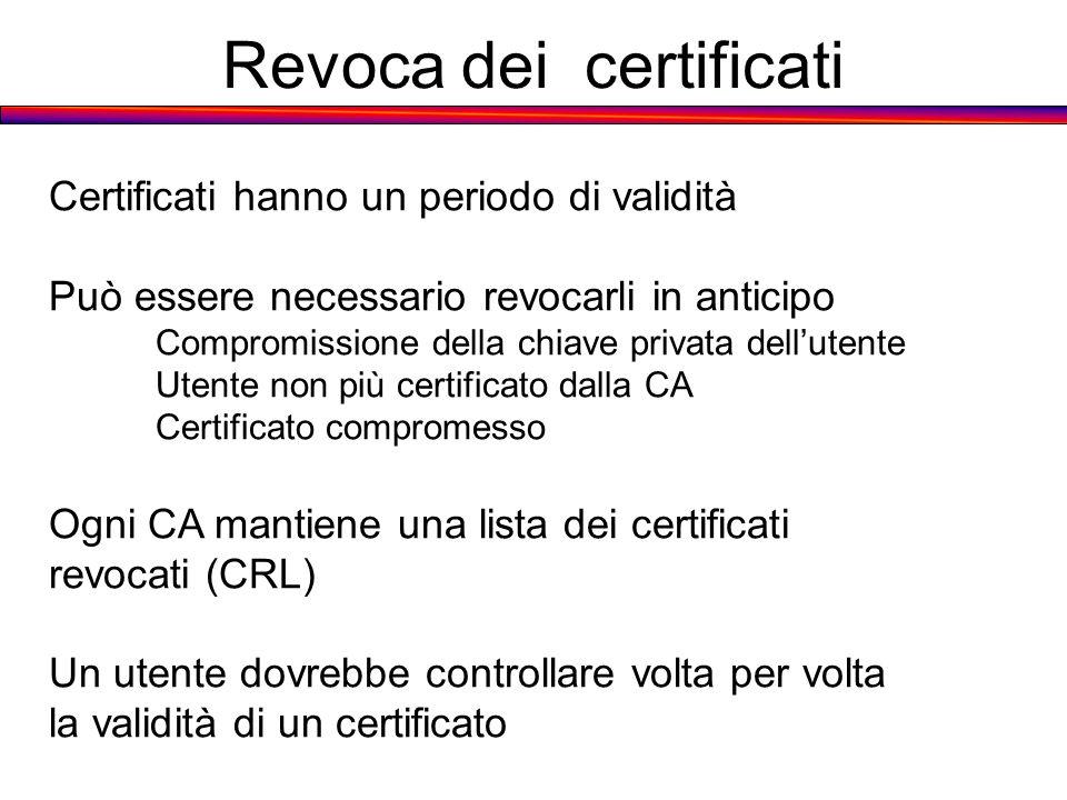 Revoca dei certificati Certificati hanno un periodo di validità Può essere necessario revocarli in anticipo Compromissione della chiave privata dellut