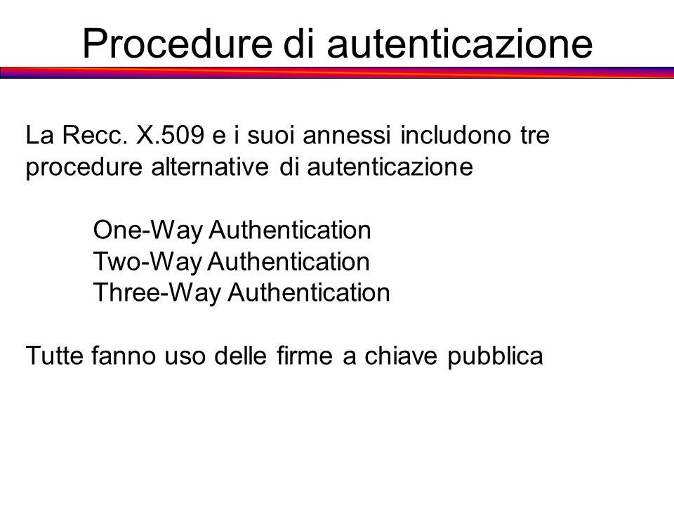 Procedure di autenticazione La Recc. X.509 e i suoi annessi includono tre procedure alternative di autenticazione One-Way Authentication Two-Way Authe