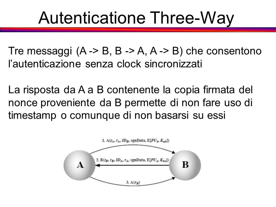 Autenticatione Three-Way Tre messaggi (A -> B, B -> A, A -> B) che consentono lautenticazione senza clock sincronizzati La risposta da A a B contenent