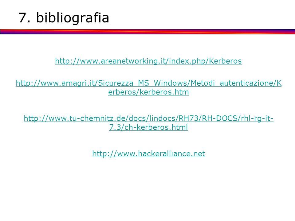 7. bibliografia http://www.areanetworking.it/index.php/Kerberos http://www.amagri.it/Sicurezza_MS_Windows/Metodi_autenticazione/K erberos/kerberos.htm