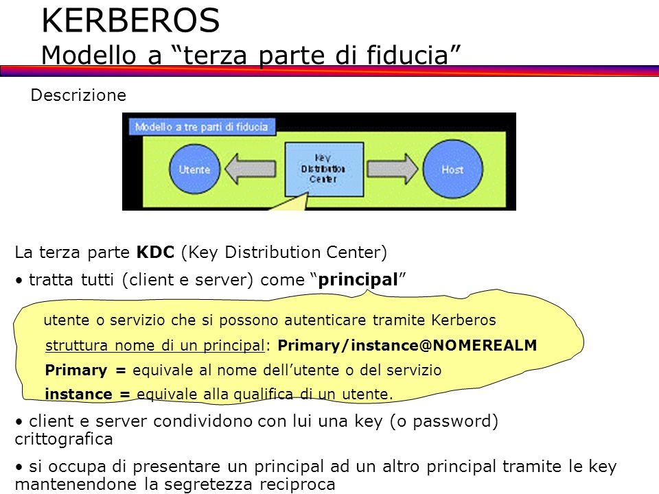 KERBEROS Modello a terza parte di fiducia KDC ha due funzioni logiche: 1.quella di AS (Authentication server) riceve la richiesta di ticket TGS da parte del client 2.quella di TGS (Ticket granting server) fornisce i ticket per i server Nonostante la divisione in due parti, le due funzioni del KDC vengono svolte entrambe da un server program che risiede sul sistema KDC