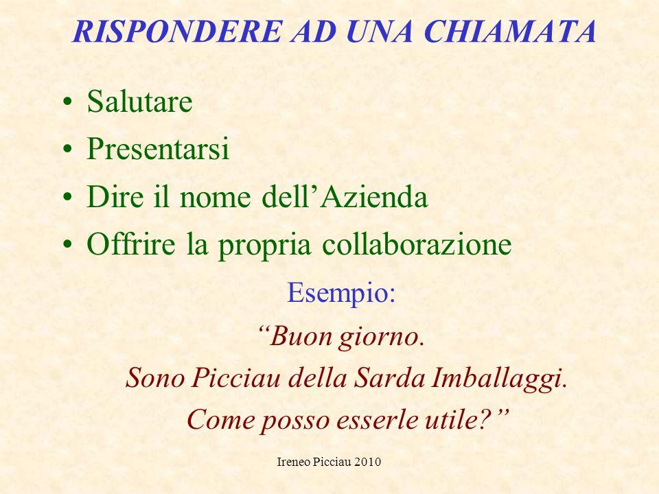 Ireneo Picciau 2010 Le telefonate in arrivo