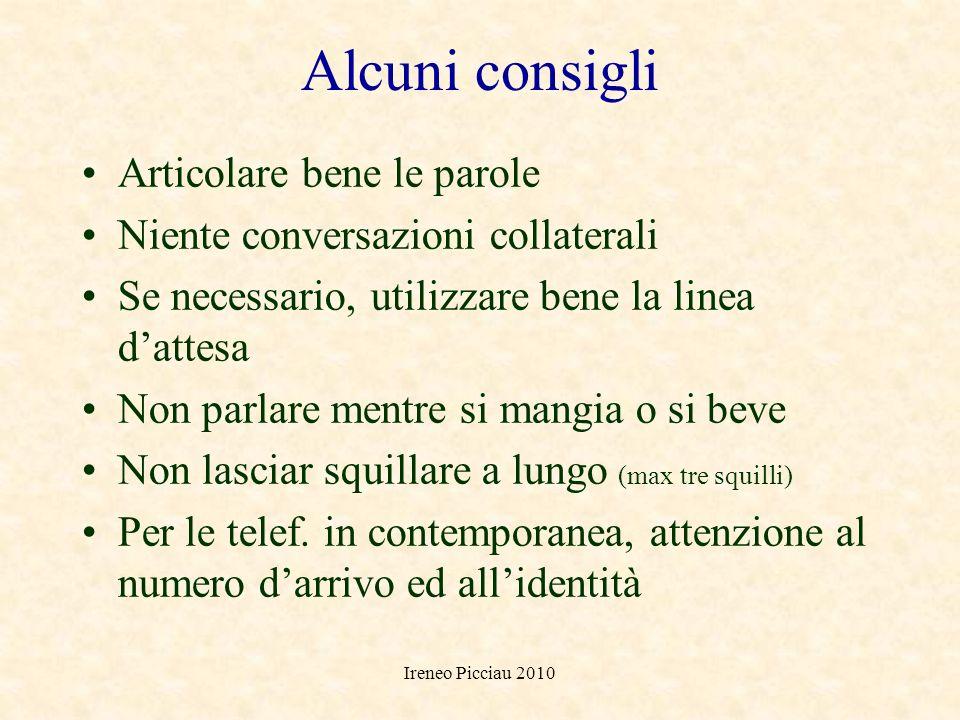 Ireneo Picciau 2010 COMUNICAZIONE AL TELEFONO Velocità Volume Energia Tono Ritmo e musicalità Pause e silenzi Vocalizzi, intercalari, sospiri.