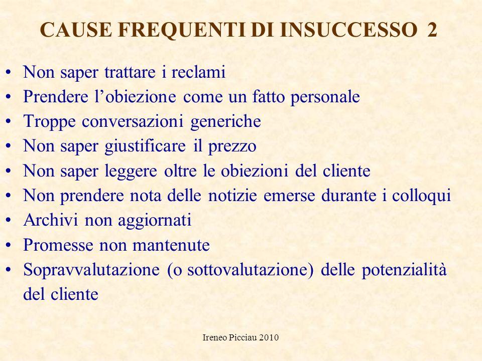 Ireneo Picciau 2010 CAUSE FREQUENTI DI INSUCCESSO 1 Pensare al no prima di parlare con il cliente Fare monologhi, senza lasciarlo parlare Parlare solo