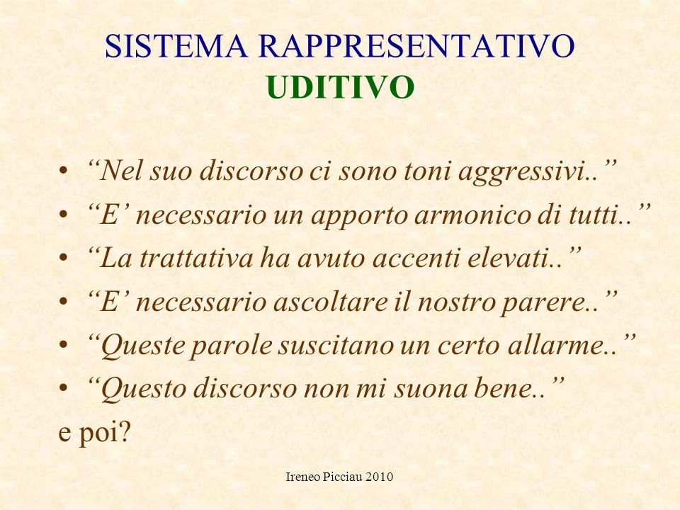 Ireneo Picciau 2010 SISTEMA RAPPRESENTATIVO VISIVO Mostrare il quadro della situazione.. Dare unimmagine chiara.. Focalizzare i punti più significativ
