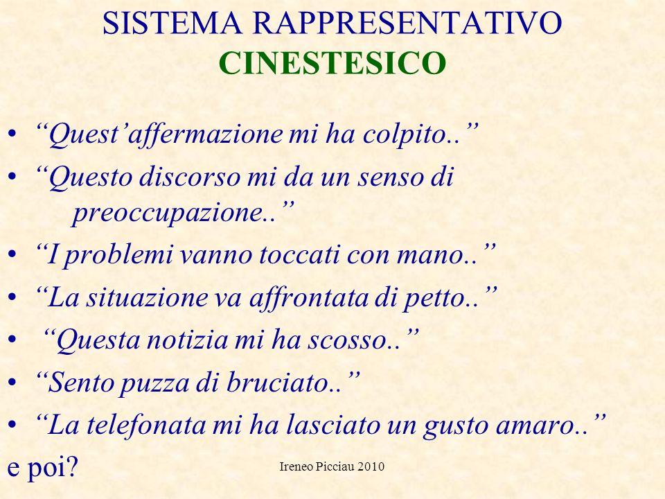 Ireneo Picciau 2010 SISTEMA RAPPRESENTATIVO UDITIVO Nel suo discorso ci sono toni aggressivi.. E necessario un apporto armonico di tutti.. La trattati