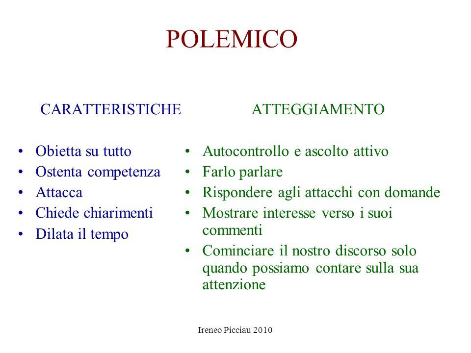 Ireneo Picciau 2010 DIFFIDENTE CARATTERISTICHE Comunicazione fredda Finge di saperne molto Cerca il pelo nelluovo Muove ripetute obiezioni ATTEGGIAMEN