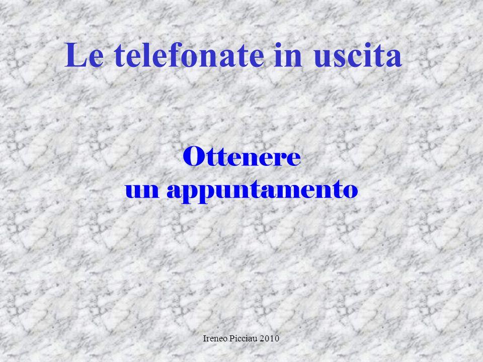 Ireneo Picciau 2010 Percorso Gestione telefonate Gestione clienti Motivazioni dacquisto Colloquio con il cliente Gestione delle obiezioni Conclusione
