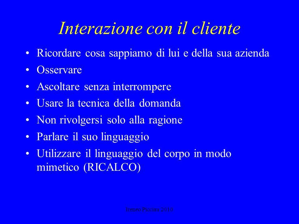 Ireneo Picciau 2010 NEI CONTATTI CON LAZIENDA DEVO RICORDARE Chi è la persona giusta con cui parlare Qual è la concorrenza Quali servizi o prodotti ho