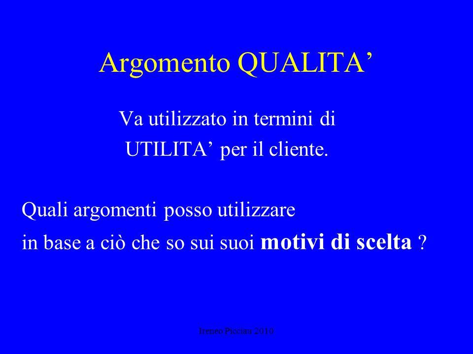 Ireneo Picciau 2010 La credibilità del venditore Dettagli concreti sul prodotto No enfasi eccessiva - sul prodotto - su di voi Precisione Sincerità