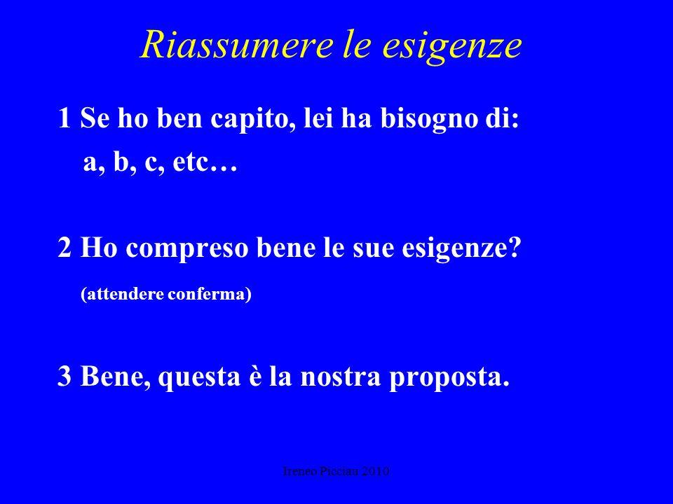 Ireneo Picciau 2010 CURARE LASCOLTO Concentrarsi sullinterlocutore Ascoltare con ottimismo, senza paura o fastidio Accertarsi di aver capito bene Dist