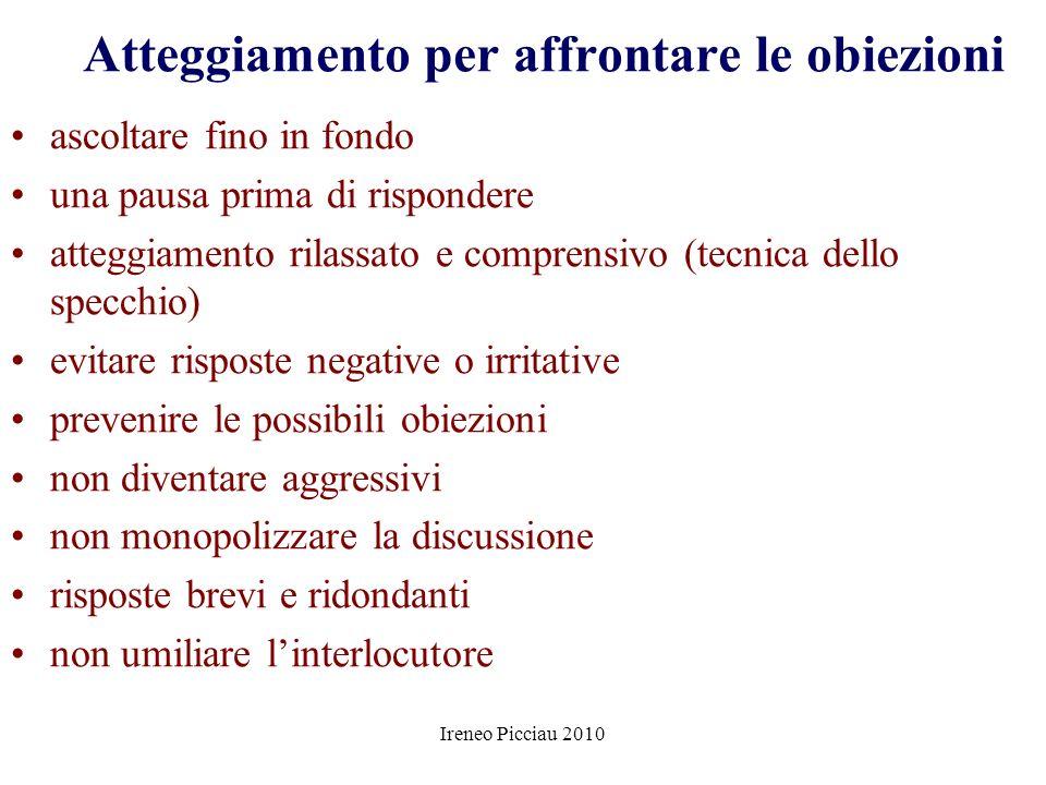 Ireneo Picciau 2010 SUPERAMENTO OBIEZIONI Conoscere tutte le possibili obiezioni Classificarle per categoria Studiarle (punti di forza e di debolezza)