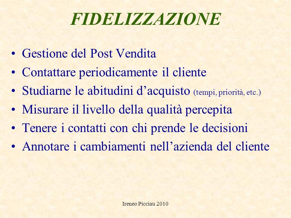 Ireneo Picciau 2010 Fidelizzazione della clientela