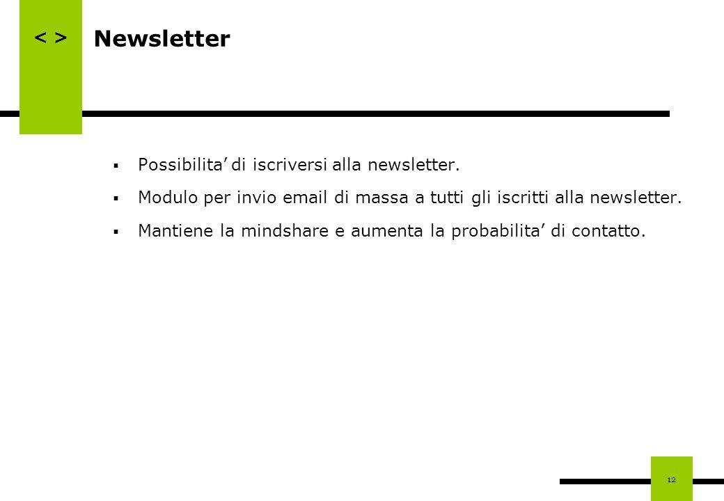 12 Newsletter Possibilita di iscriversi alla newsletter. Modulo per invio email di massa a tutti gli iscritti alla newsletter. Mantiene la mindshare e
