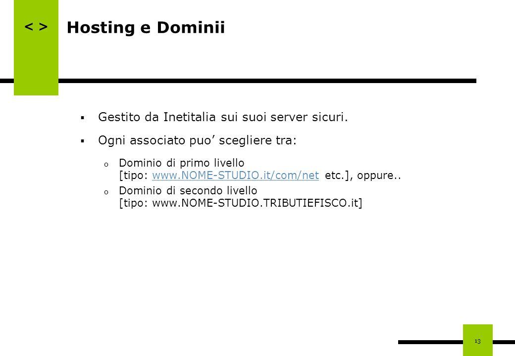 13 Hosting e Dominii Gestito da Inetitalia sui suoi server sicuri. Ogni associato puo scegliere tra: o Dominio di primo livello [tipo: www.NOME-STUDIO