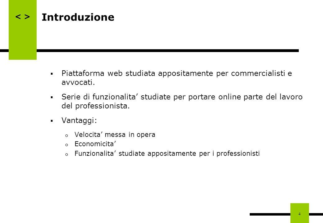 4 Introduzione Piattaforma web studiata appositamente per commercialisti e avvocati. Serie di funzionalita studiate per portare online parte del lavor