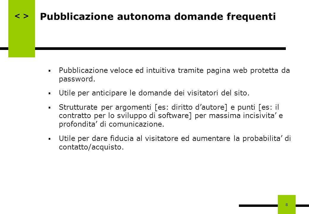 8 Pubblicazione autonoma domande frequenti Pubblicazione veloce ed intuitiva tramite pagina web protetta da password. Utile per anticipare le domande