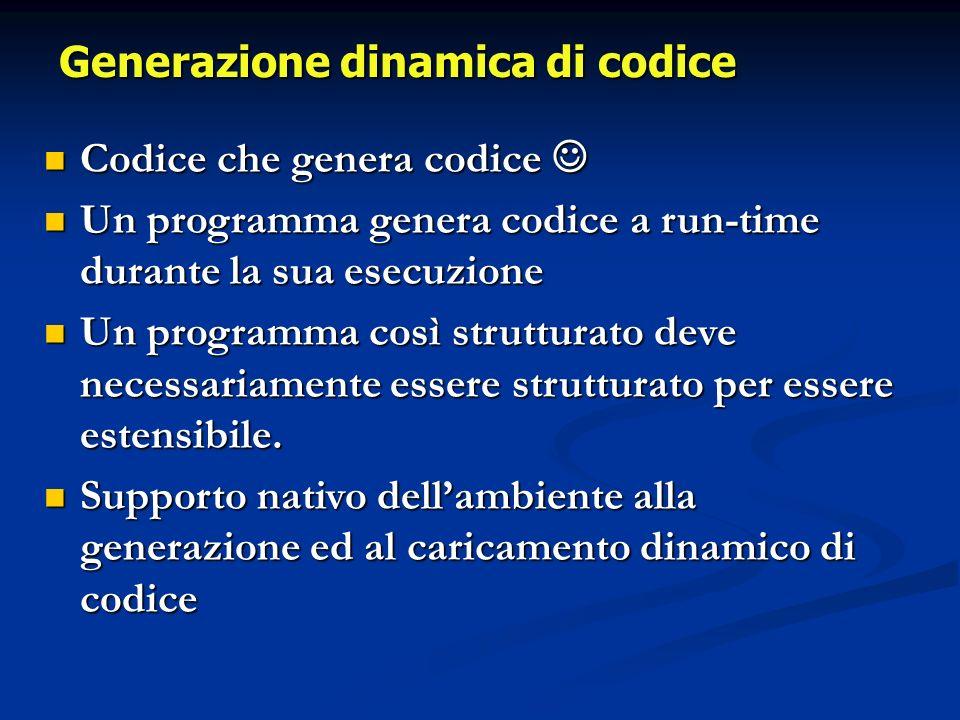 Codice che genera codice Codice che genera codice Un programma genera codice a run-time durante la sua esecuzione Un programma genera codice a run-time durante la sua esecuzione Un programma così strutturato deve necessariamente essere strutturato per essere estensibile.