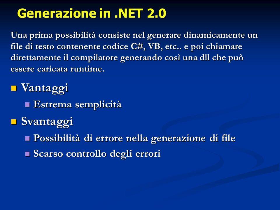 Generazione in.NET 2.0 Una prima possibilità consiste nel generare dinamicamente un file di testo contenente codice C#, VB, etc..