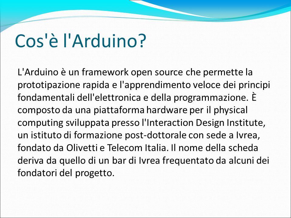 Cos'è l'Arduino? L'Arduino è un framework open source che permette la prototipazione rapida e l'apprendimento veloce dei principi fondamentali dell'el