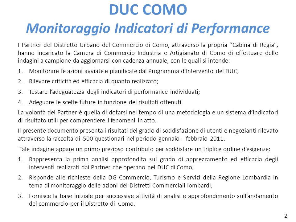 2 DUC COMO Monitoraggio Indicatori di Performance I Partner del Distretto Urbano del Commercio di Como, attraverso la propria Cabina di Regia, hanno i
