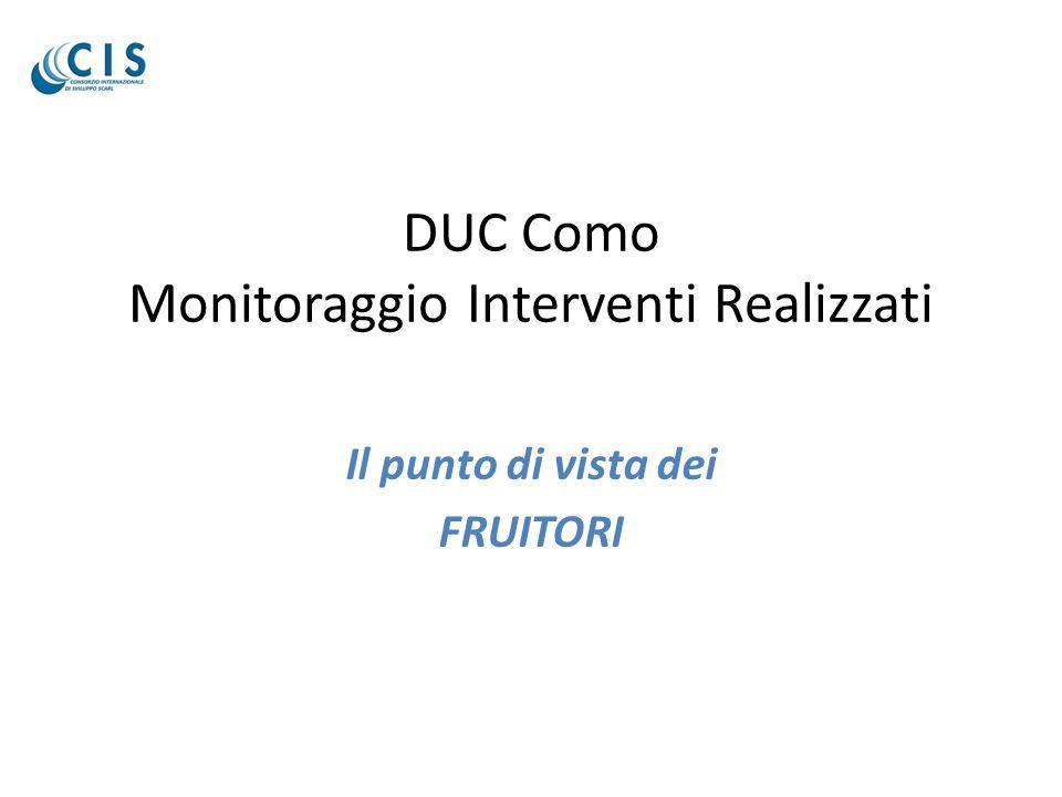 DUC Como Monitoraggio Interventi Realizzati Il punto di vista dei FRUITORI