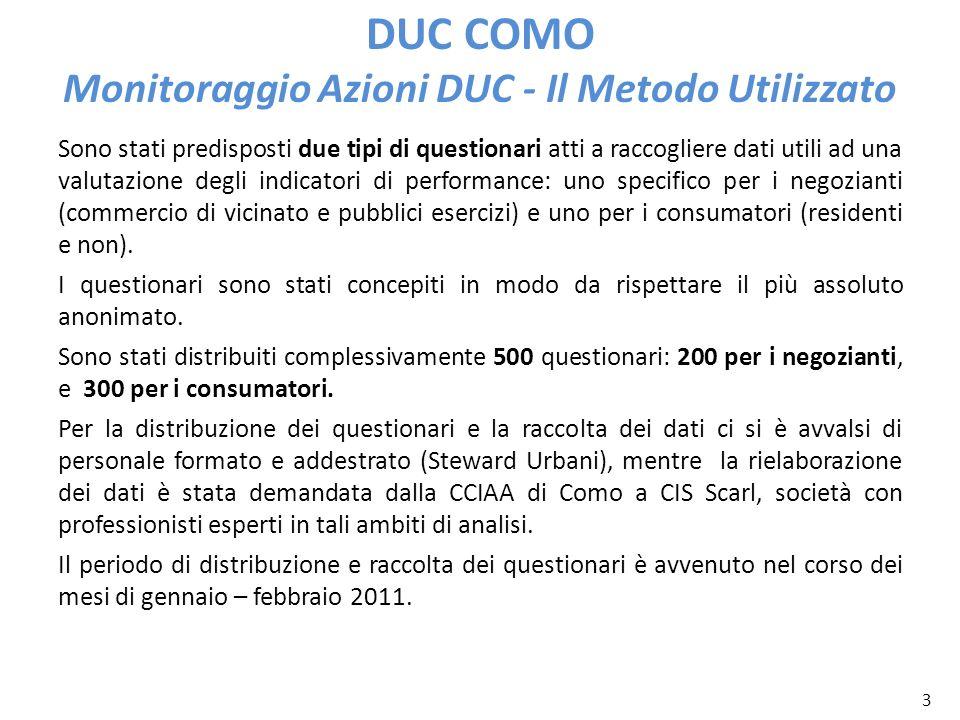 3 DUC COMO Monitoraggio Azioni DUC - Il Metodo Utilizzato Sono stati predisposti due tipi di questionari atti a raccogliere dati utili ad una valutazi