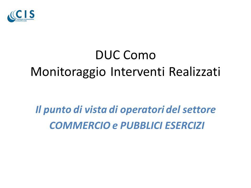 DUC Como Monitoraggio Interventi Realizzati Il punto di vista di operatori del settore COMMERCIO e PUBBLICI ESERCIZI
