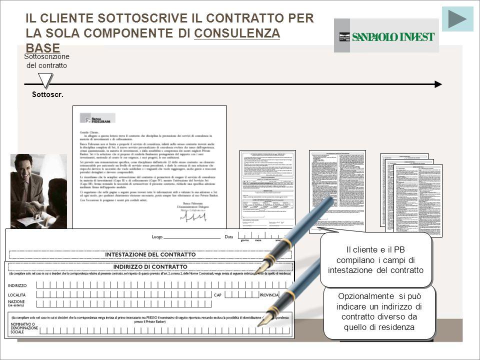 21 Sottoscr. Sottoscrizione del contratto IL CLIENTE SOTTOSCRIVE IL CONTRATTO PER LA SOLA COMPONENTE DI CONSULENZA BASE Opzionalmente si può indicare
