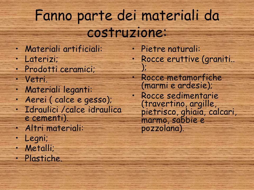 Fanno parte dei materiali da costruzione: Materiali artificiali: Laterizi; Prodotti ceramici; Vetri. Materiali leganti: Aerei ( calce e gesso); Idraul