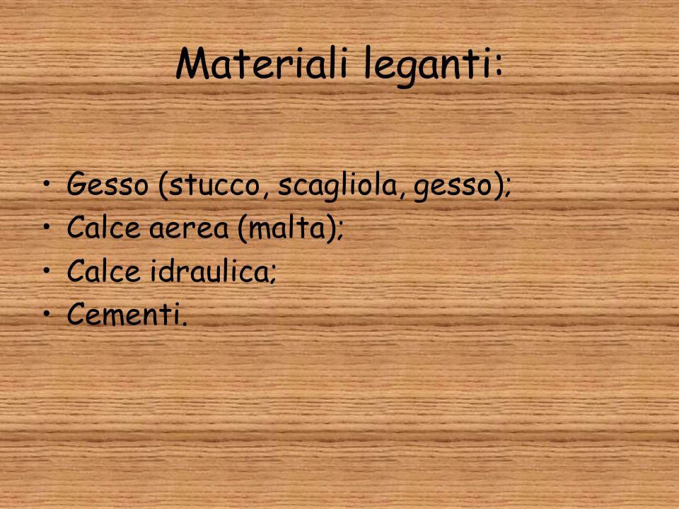 Materiali leganti: Gesso (stucco, scagliola, gesso); Calce aerea (malta); Calce idraulica; Cementi.