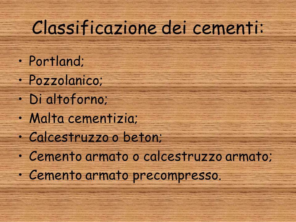 Classificazione dei cementi: Portland; Pozzolanico; Di altoforno; Malta cementizia; Calcestruzzo o beton; Cemento armato o calcestruzzo armato; Cement