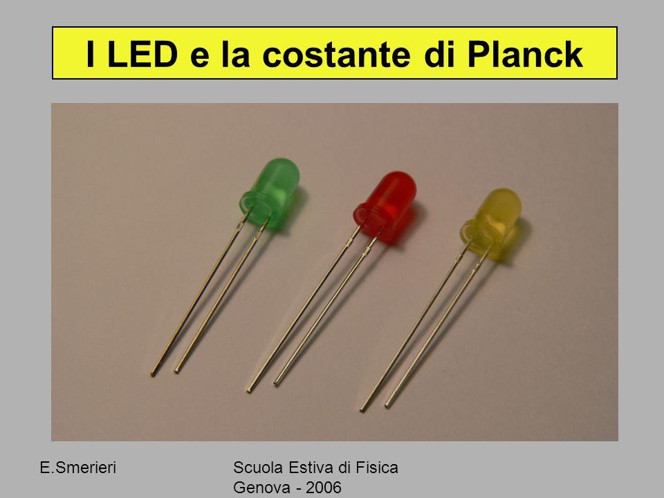 E.SmerieriScuola Estiva di Fisica Genova - 2006 I LED e la costante di Planck