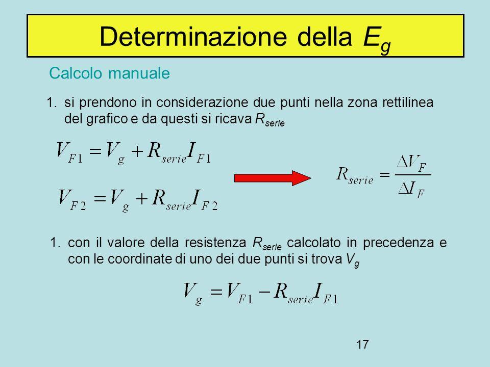 17 Determinazione della E g 1.si prendono in considerazione due punti nella zona rettilinea del grafico e da questi si ricava R serie 1.con il valore della resistenza R serie calcolato in precedenza e con le coordinate di uno dei due punti si trova V g Calcolo manuale