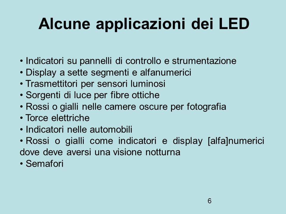 6 Alcune applicazioni dei LED Indicatori su pannelli di controllo e strumentazione Display a sette segmenti e alfanumerici Trasmettitori per sensori l