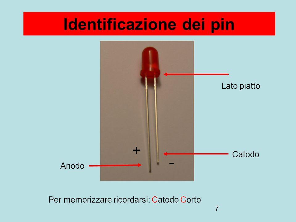 7 Identificazione dei pin Anodo Catodo Lato piatto - + Per memorizzare ricordarsi: Catodo Corto