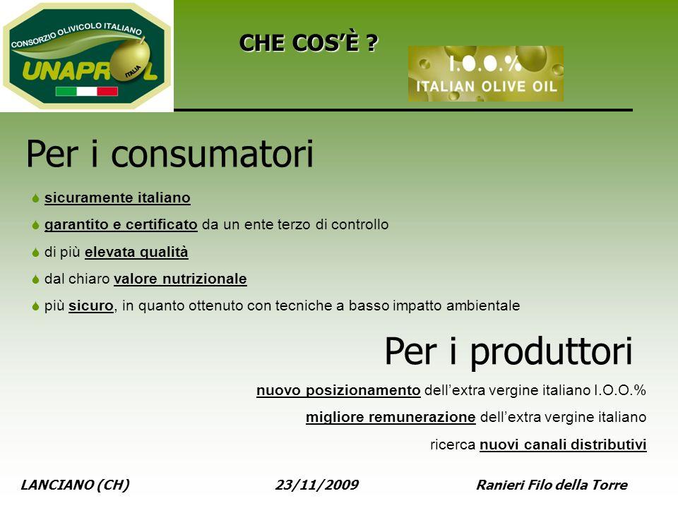 LANCIANO (CH) 23/11/2009 Ranieri Filo della Torre CHE COSÈ ? sicuramente italiano garantito e certificato da un ente terzo di controllo di più elevata