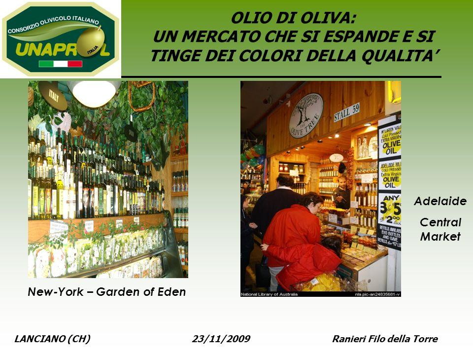 LANCIANO (CH) 23/11/2009 Ranieri Filo della Torre OLIO DI OLIVA: UN MERCATO CHE SI ESPANDE E SI TINGE DEI COLORI DELLA QUALITA New-York – Garden of Ed
