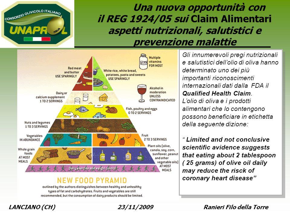 LANCIANO (CH) 23/11/2009 Ranieri Filo della Torre Una nuova opportunità con il REG 1924/05 sui Claim Alimentari aspetti nutrizionali, salutistici e pr