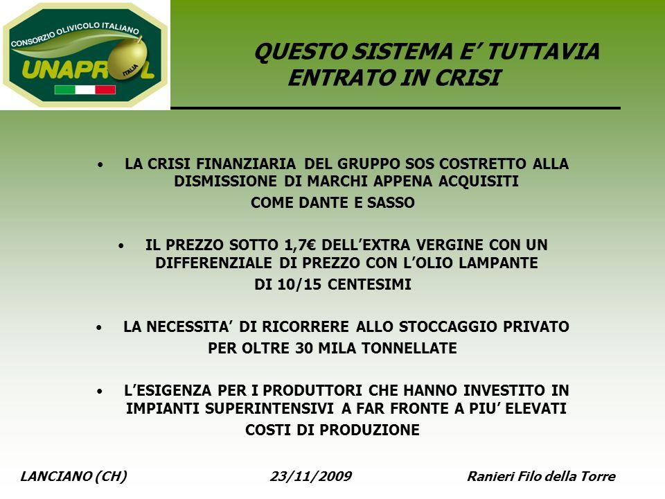 LANCIANO (CH) 23/11/2009 Ranieri Filo della Torre QUESTO SISTEMA E TUTTAVIA ENTRATO IN CRISI LA CRISI FINANZIARIA DEL GRUPPO SOS COSTRETTO ALLA DISMIS
