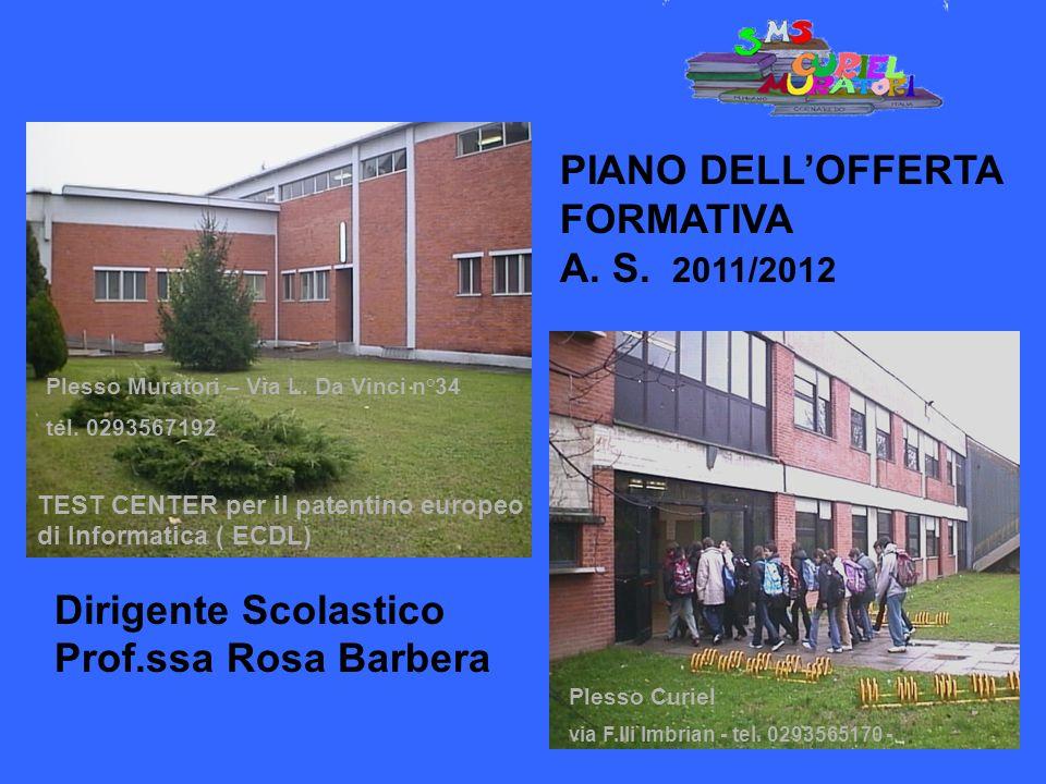 Plesso Curiel via F.lli Imbrian - tel. 0293565170 - Dirigente Scolastico Prof.ssa Rosa Barbera Dirigente Scolastico Prof. ssa Rosa Barbera PIANO DELLO