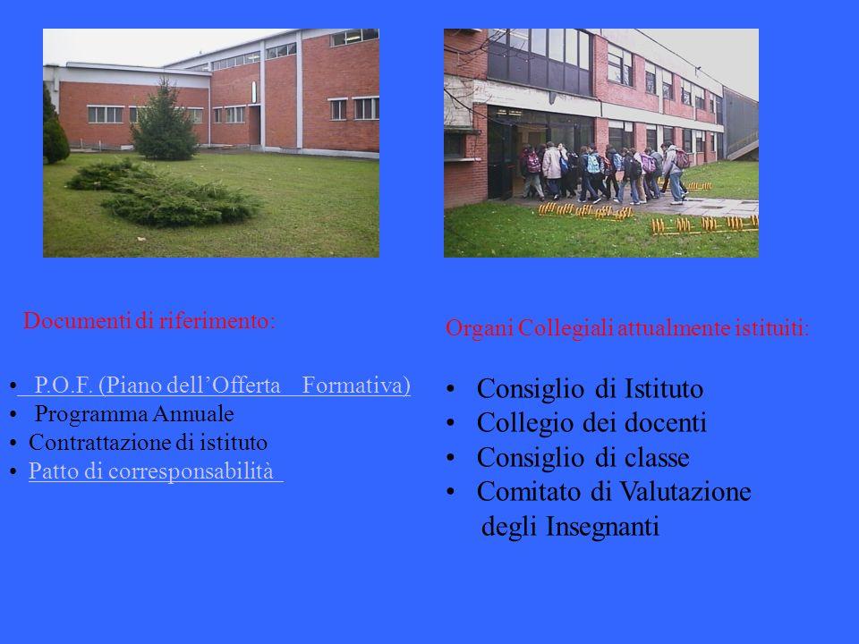 Organi Collegiali attualmente istituiti: Consiglio di Istituto Collegio dei docenti Consiglio di classe Comitato di Valutazione degli Insegnanti P.O.F